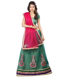 Buy Green embroidered Net unstitched lehenga-choli lehenga-choli online