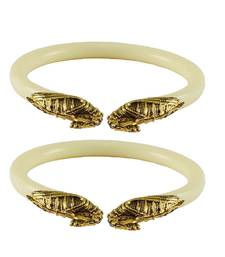 Buy White color Acrylic and Brass bangle bangles-and-bracelet online