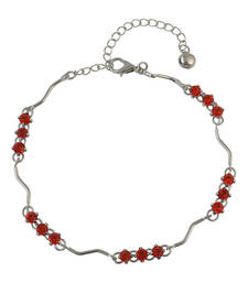 Buy Red Rhinestone Studded Silver Anklet for Women anklet online