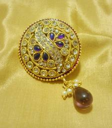 Buy Designer Purple CZ Saree Pin Brooch brooch online