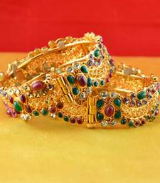 Buy gold moti stone polki kundun cz meenakari pearl bangle kara with skrew system  bangles-and-bracelet online