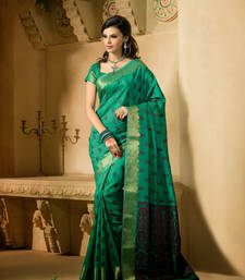 Buy Green Zari silk saree with blouse banarasi-silk-saree online