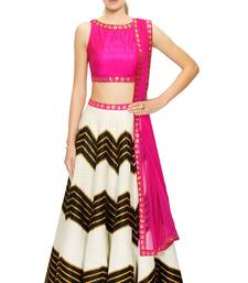 Black and White embroidered dupion and silk readymade-lehenga-cholis shop online