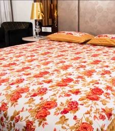 Buy Pure Cotton Brown and Orange Color Floral Sanganeri Print Double Bedsheet bed-sheet online
