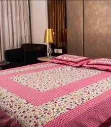 Buy Pure Cotton Pink and White Leaf Design Sanganeri Print Double Bedsheet bed-sheet online