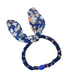 Buy Floral Print Navy Blue Fabric Hair Rubber Band for Women Other online