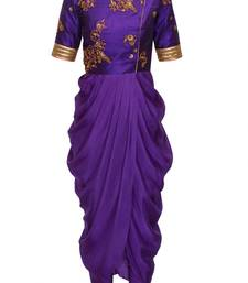 Buy Purple embroidered raw silk and georgette party-wear-Kurtis party-wear-salwar-kameez online