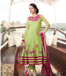 Buy Pista Green Net  Designer Ready made Anarkali  dress online