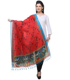 Buy blue and red printed Bhagalpuri Silk stole-and-dupattas stole-and-dupatta online