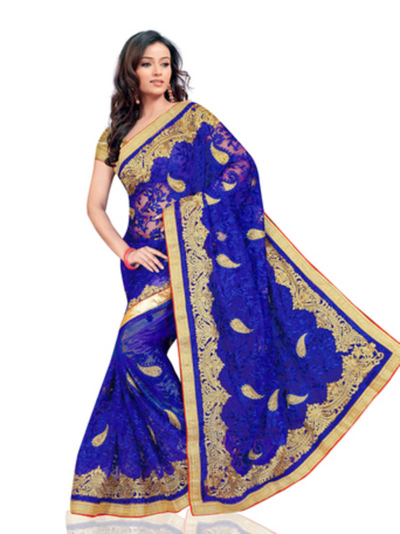 Buy Blue Embroidered Net Saree With Blouse Online