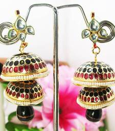Buy Meenakari Double Tokri Earring Maroon Black Dots Earring online