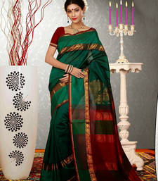 Buy Green woven dupion silk saree with blouse dupion-saree online
