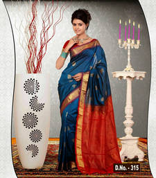 Buy Blue woven dupion silk saree with blouse dupion-saree online