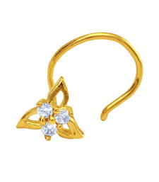 Buy Gold Plated Tri-petals Nosepin with CZ for Women nose-ring online