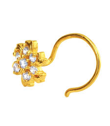 Buy Gold Plated Swirly Fleur Nosepin with CZ for Women nose-ring online