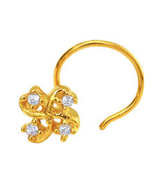 Buy Gold Plated Tetrad Foliole Nosepin with CZ for Women nose-ring online
