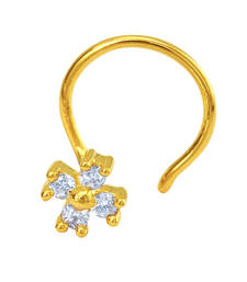 Buy Gold Plated The Petiole Nosepin with CZ for Women nose-ring online