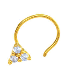 Buy Gold Plated Auric Hastate Nosepin with CZ for Women nose-ring online