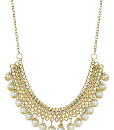 Buy White Pearl Gold Plated Necklace Necklace online