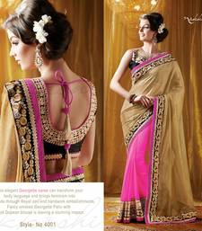 Buy Cream  and  Pink Embroidered Georgette saree with blouse party-wear-saree online