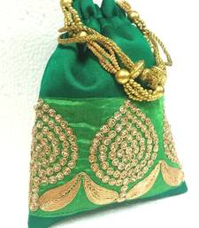 Buy Ethnic Indian Artsilk Batwa with Handmade Border. potli-bag online