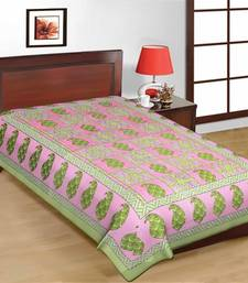 Buy Pink and Green Color Check Design Sanganeri Print Pure Cotton Single Bedsheet bed-sheet online