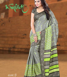 Buy Grey and Green and  Parrot green printed crepe saree with blouse crepe-saree online