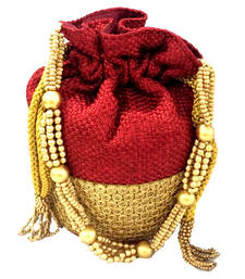 Buy Ethnic red potli bag potli-bag online