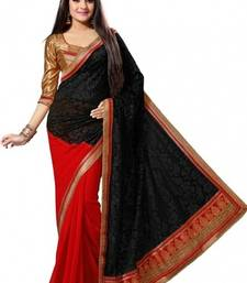Buy Black and Red embroidered brocade saree with blouse brasso-saree online