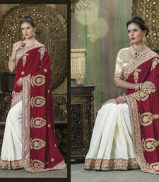 Buy Red  and  White embroidered silk saree with blouse silk-saree online