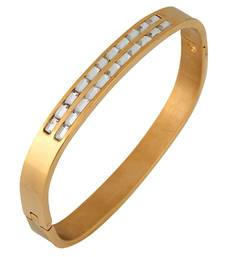 Buy Baguette Crystal Openable 18K Gold Plated Surgical Stainless Steel Cuff Kada Bracelet for Men bangles-and-bracelet online