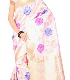Buy white hand_woven jacquard saree with blouse jacquard-saree online
