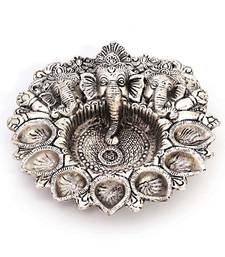 Buy Pretty White Metal God Ganesha Silver Dia Idol religious-item online