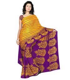 Buy Yellow And Purple printed georgette saree with blouse printed-saree online
