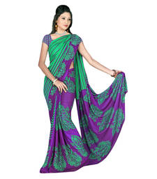 Buy Green And Purple printed georgette saree with blouse below-500 online
