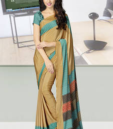 Buy Beige  and  Sea Green printed crepe saree with blouse crepe-saree online