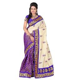 Buy Purple embroidered chanderi saree with blouse chanderi-saree online