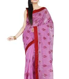 Buy Light Pink embroidered Supernet saree with blouse supernet-saree online