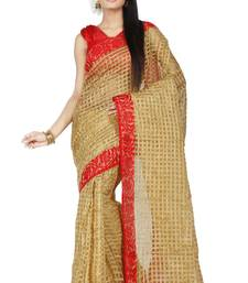 Buy Beige embroidered Supernet saree with blouse supernet-saree online
