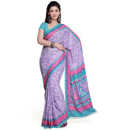 Buy multicolor printed crepe saree with blouse below-400 online