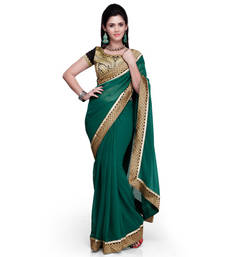 Buy Green embroidered chiffon saree with blouse chiffon-saree online