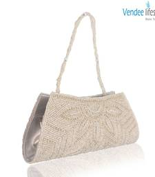 Buy Vendee Lifestyle White Beaded Silver Clutch for Evening Wear (7322) clutch online