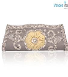 Buy Vendee Lifestyle Silver Grey Handmade Clutch (7379) clutch online