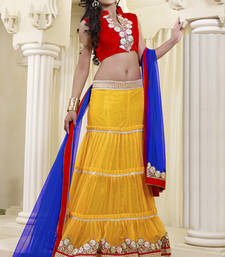 Buy Blue embroidered Net  lehenga-choli lehenga-choli online