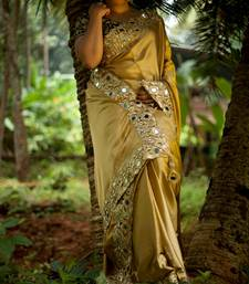 Buy golden plain silk saree with blouse satin-saree online