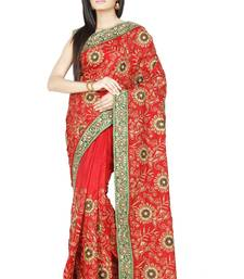 Buy Red embroidered silk saree with blouse silk-saree online