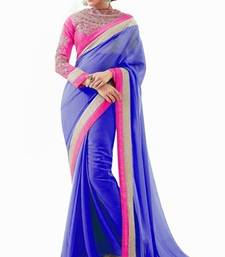 Buy Blue embroidered chiffon saree with blouse below-300 online