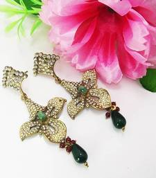 Buy Victorian Floral Danglers Green danglers-drop online