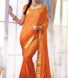 Buy Orange  Plain Silk saree with blouse wedding-saree online
