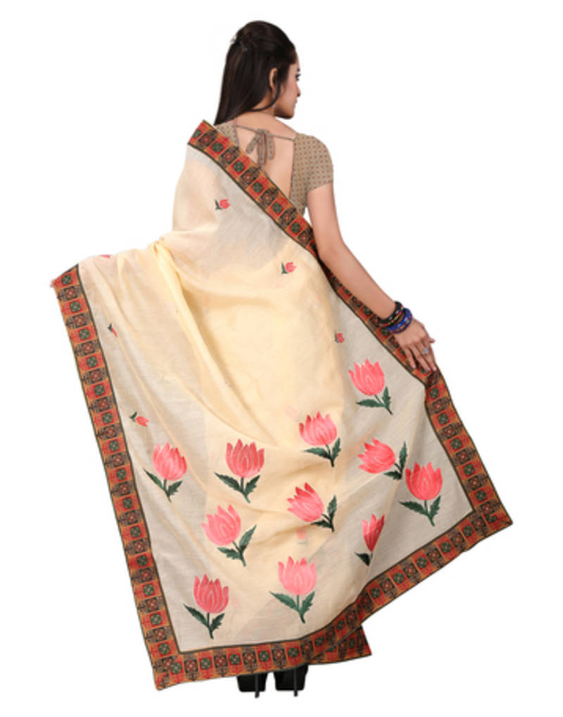 Buy Beige Embroidered Cotton Saree With Blouse Online
